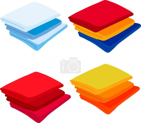 Set colored towels on white background