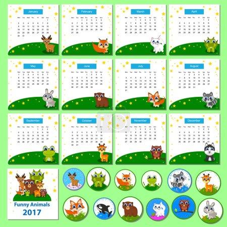 Calendar 2017 with funny cartoon animals