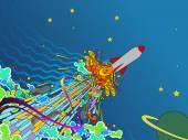illustration of space rocket taking off