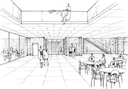 Cafe interior - architectural drawing