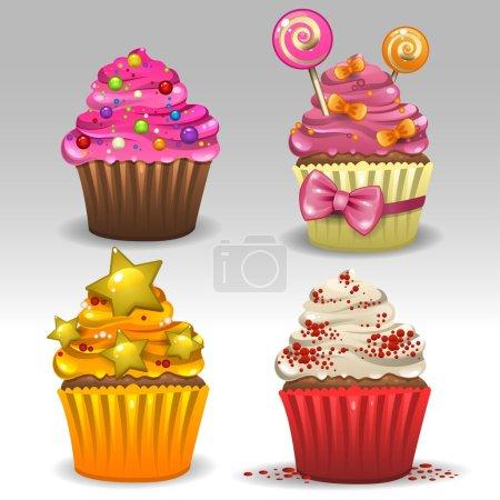 Illustration pour Illustration de cupcakes festifs - image libre de droit