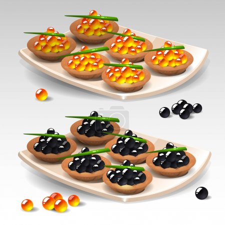 Canapes with caviar