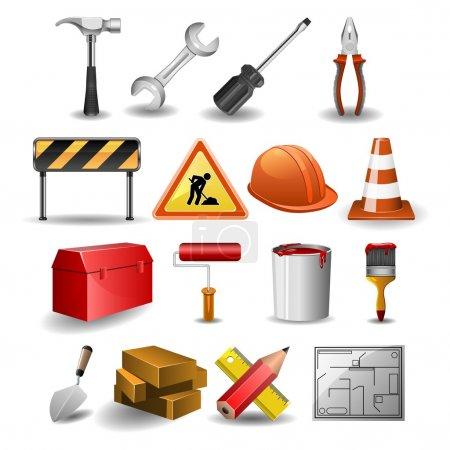 Illustration for Illustration of construction icons set - Royalty Free Image