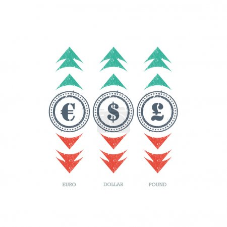 Illustration for Grunge currency sign icon with green and red up and down arrows. Vector graphic illustration template. Isolated on white background. - Royalty Free Image