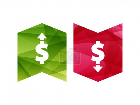 Illustration for Colorful dollar up and down sign icon badge banner. Vector graphic illustration template. Isolated on white background. - Royalty Free Image