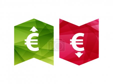 Illustration for Colorful currency up and down sign icon on green and red badge banner. Vector graphic illustration template. Isolated on white background. - Royalty Free Image