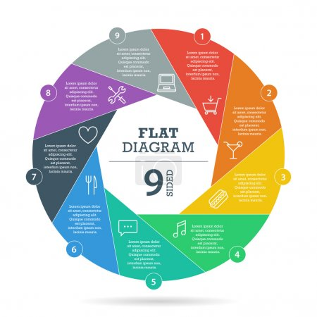 Illustration for Flat shutter diagram template for your business presentation with text areas and icons. Vector infographic graphic design. Collection. - Royalty Free Image