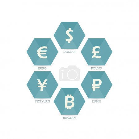 Euro Dollar Yen Yuan Bitcoin Ruble Pound Mainstream currencies symbols on grunge circle sign. Vector illustration graphic template isolated on white background.