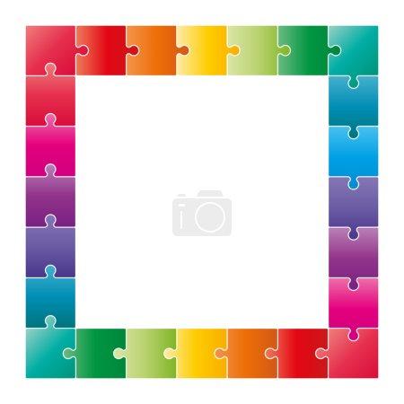 Multicolor jigsaw puzzle frame border