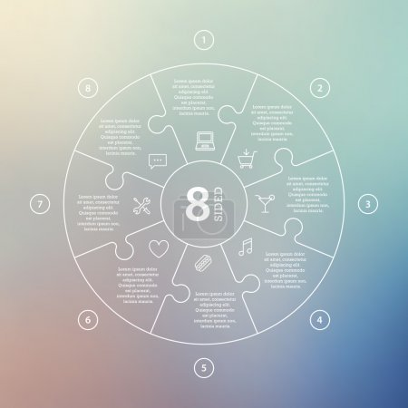 Business concept with options, parts, steps or processes. Circle puzzle infographic. Template for cycle diagram, graph, presentation and round chart.