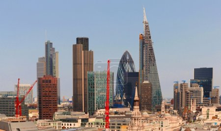 City of London one of the leading centres of global finance.This view includes Tower  Gherkin,Willis Building, Stock Exchange Tower and Lloyds of London and Canary Wharf at the background.