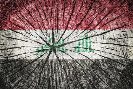 Photo pour Drapeau de l'Irak sur texture de bois fissurée - image libre de droit