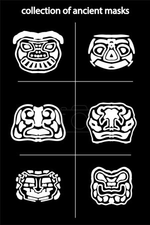 collection of original ancient  masks, for tattoo and amulets