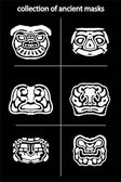 Collection of original ancient  masks for tattoo and amulets