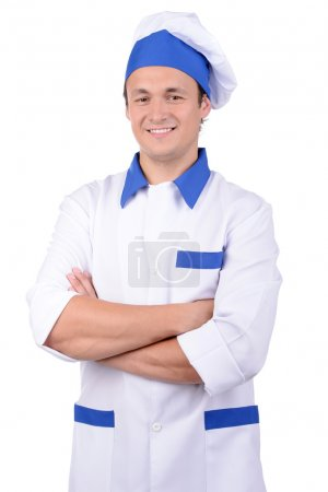 Photo for Smiling man in chef's uniform isolated on white background - Royalty Free Image