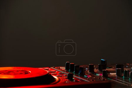 Photo for Dj mixer equipment to control sound and play music. - Royalty Free Image