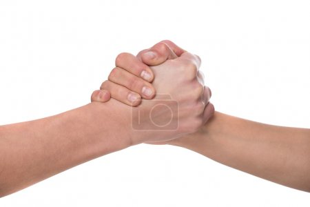 Photo pour Shaking hands of two male people, isolated on white background. - image libre de droit