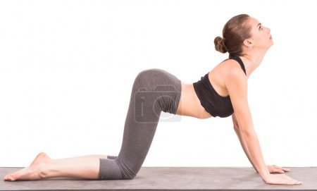Photo for Beautiful sporty woman doing yoga exercise in cat position and looking up. - Royalty Free Image