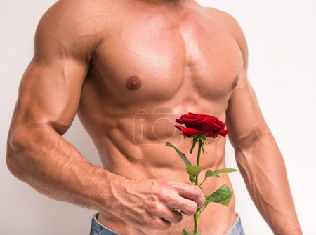 Photo for Close-up of young muscular man with perfect torso holding single rose while standing against white background. - Royalty Free Image