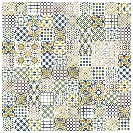 Illustration for Gorgeous seamless patchwork pattern from colorful Moroccan tiles - Royalty Free Image
