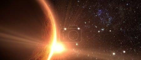 Jupiter and satellite juno with beautiful sunset. ...