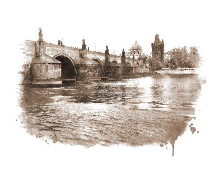 Old Prague Charles bridge view