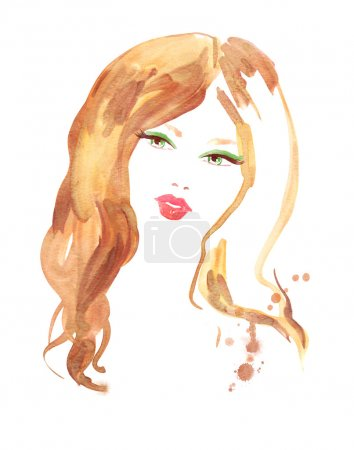Photo for Female portrait. Watercolor fashion illustration. - Royalty Free Image