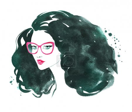 Photo for Young woman wearing glasses. Watercolor fashion illustration. - Royalty Free Image
