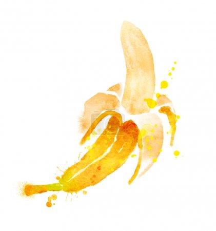Foto de Mano dibuja la ilustración acuarela de plátano con salpicaduras de pintura. - Imagen libre de derechos