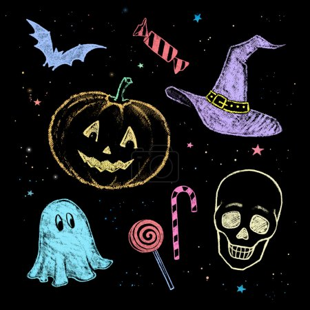 Photo for Hand drawn colorful chalked Halloween collection - Royalty Free Image