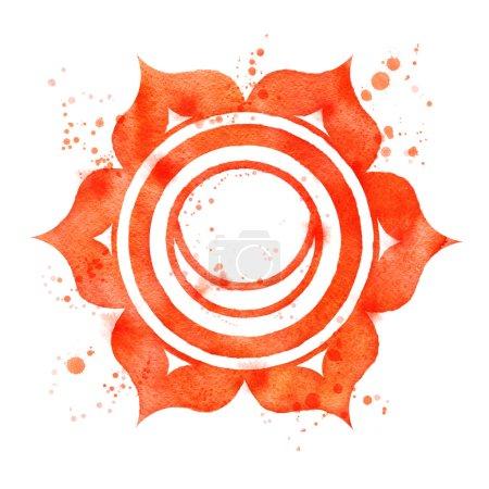 Photo pour Illustration aquarelle du symbole chakra Svadhisthana avec éclaboussures de peinture . - image libre de droit