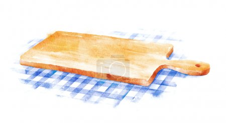 Photo for Watercolor hand drawn illustration of kitchen cutting board on blue checkered tablecloth. - Royalty Free Image