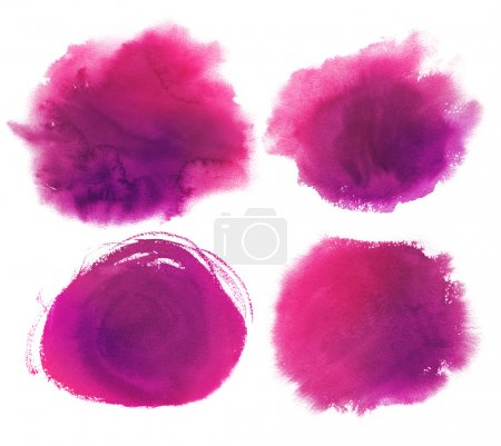 Photo for Hand drawn purple watercolor stains collection. - Royalty Free Image