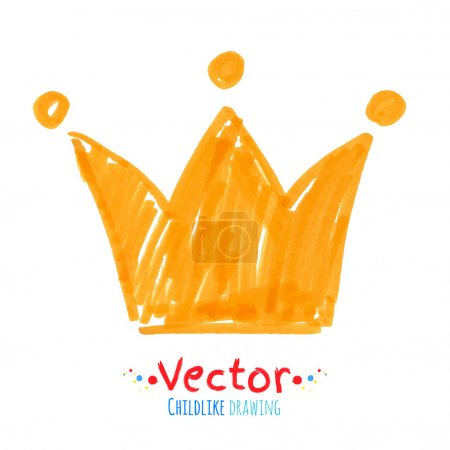Illustration for Felt pen childlike drawing of crown. Isolated illustration. - Royalty Free Image