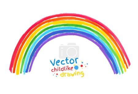 Illustration pour Stylo feutre dessin enfantin d'arc-en-ciel. Illustration isolée . - image libre de droit