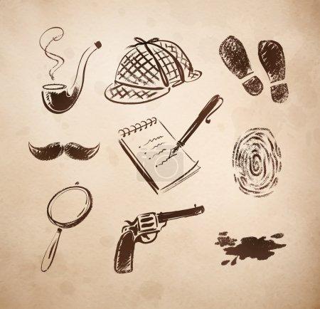 Illustration pour Detective croquis icônes style rétro ensemble vectoriel - image libre de droit