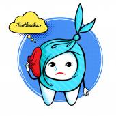 Cute aching tooth character.
