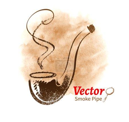 Illustration pour Vintage Smoking pipe sur fond blanc - image libre de droit