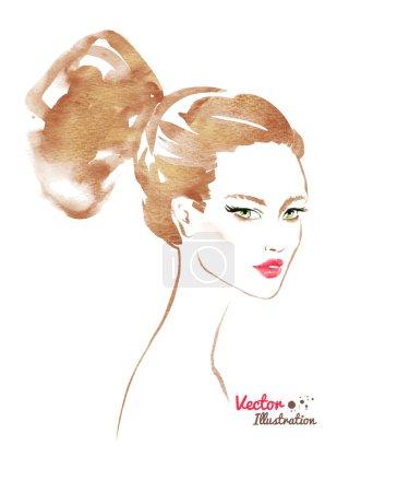 Illustration pour Illustration aquarelle de femme fashion sur fond blanc - image libre de droit