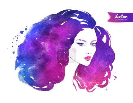 Illustration pour Illustration vectorielle de la femme aux cheveux bouclés . - image libre de droit
