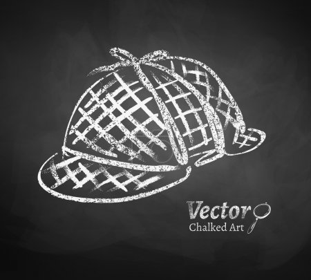 Illustration for Chalkboard drawing of detective hat. Vector illustration. Isolated. - Royalty Free Image
