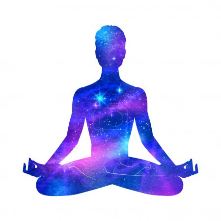 Illustration for Meditation. Outer space in male silhouette. Vector illustration. - Royalty Free Image