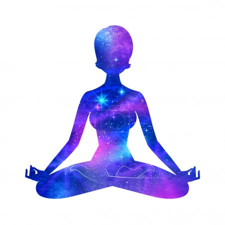 Illustration for Meditation. Female silhouette with outer space. Vector illustration. - Royalty Free Image