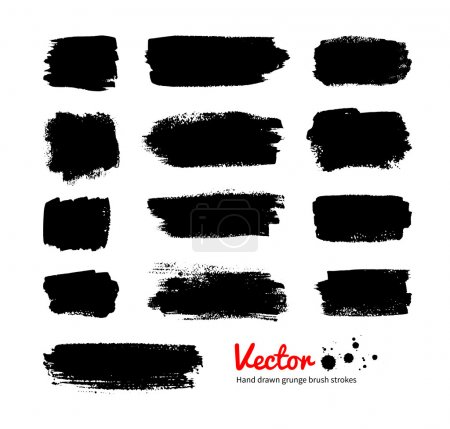 Black grunge hand drawn banners. Vector set....