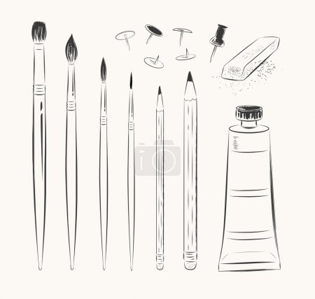 Illustration for Vector set of art tools - Royalty Free Image