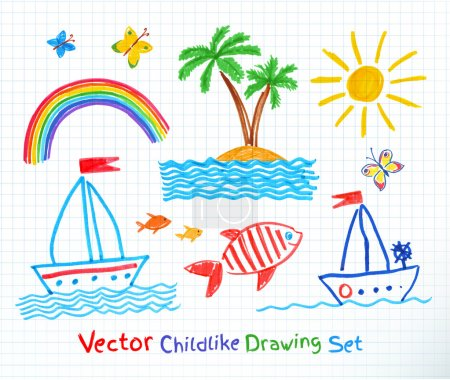 Illustration for Summer seaside set. Felt pen childlike drawing. Vector illustration. - Royalty Free Image