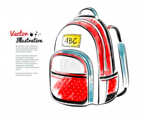 Illustration for Vector watercolor illustration of school bag - Royalty Free Image