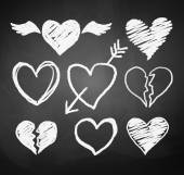 Vector collection of grunge chalked hearts