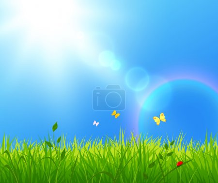 Illustration for Vector illustration of summer landscape with sunlight - Royalty Free Image