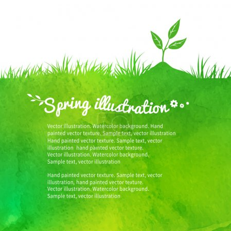 Illustration for Watercolor vector background with growing sprout. - Royalty Free Image